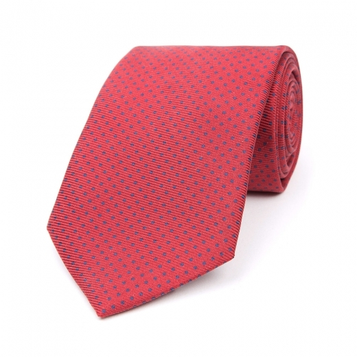 BLOOD RED WITH ROYAL BLUE DOT PRINTED SILK TIE
