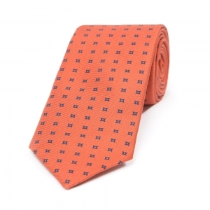 BURNT ORANGE WITH NAVY HOLLOW SQUARE MOTIF PRINTED SILK TIE