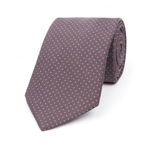 CHOCOLATE BROWN WITH LIGHT BLUE DOT PRINTED SILK TIE