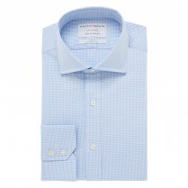 CITY CLASSIC Light Blue Gingham Twill Single Cuff (Slim Fit)