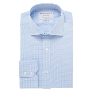 CITY CLASSIC Light Blue Gingham Twill Single Cuff (Tailored Fit)