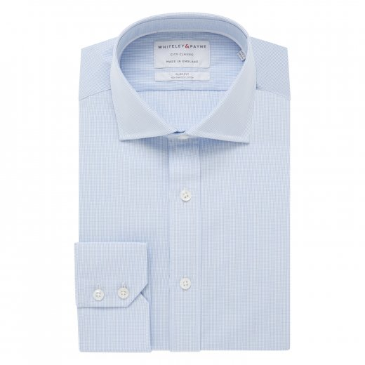 CITY CLASSIC Light Blue Micro Check Poplin Single Cuff (Slim Fit)