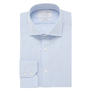 CITY CLASSIC Light Blue Micro Check Poplin Single Cuff (Tailored Fit)