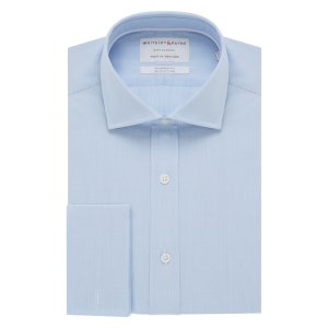 CITY CLASSIC Light Blue Poplin Double Cuff (Tailored Fit)