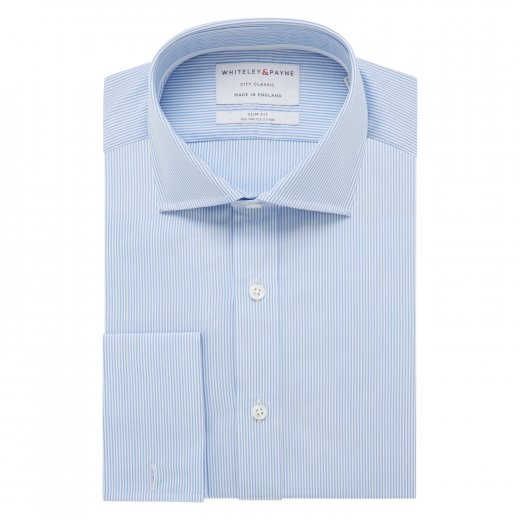 CITY CLASSIC Light Blue Stripe Poplin Double Cuff (Slim Fit)