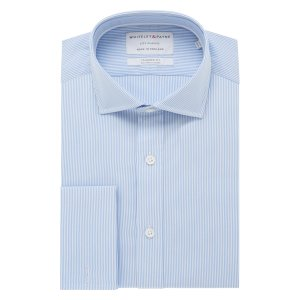 CITY CLASSIC Light Blue Stripe Poplin Double Cuff (Tailored Fit)
