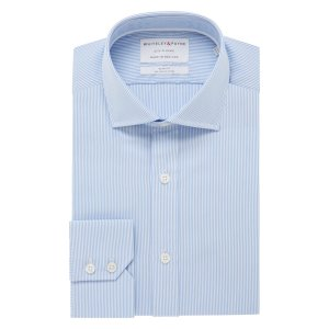 CITY CLASSIC Light Blue Stripe Poplin Single Cuff (Slim Fit)