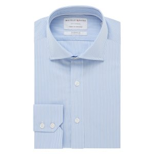 CITY CLASSIC Light Blue Stripe Poplin Single Cuff (Tailored Fit)