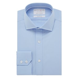 CITY CLASSIC Rich Blue Poplin Single Cuff (Tailored Fit)