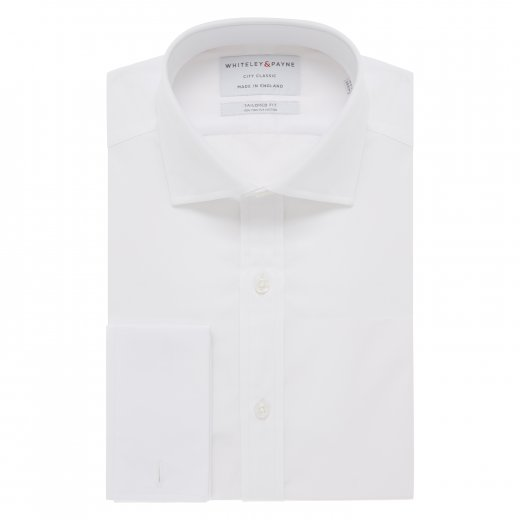 CITY CLASSIC White Poplin Double Cuff (Tailored Fit)