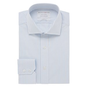 CITY CLASSIC White With Blue Line Check Poplin Single Cuff (Slim Fit)