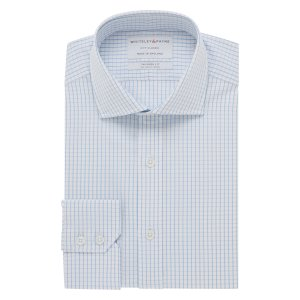 CITY CLASSIC White With Blue Line Check Poplin Single Cuff (Tailored Fit)
