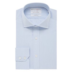 CITY FLYER Light Blue Micro Stripe Poplin Single Cuff (Tailored Fit)