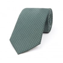 DARK GREEN WITH LIGHT BLUE DOT PRINTED SILK TIE