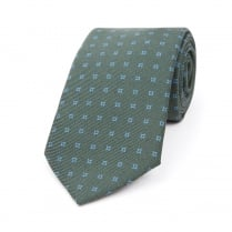 DARK GREEN WITH LIGHT BLUE HOLLOW SQUARE MOTIF PRINTED SILK  TIE