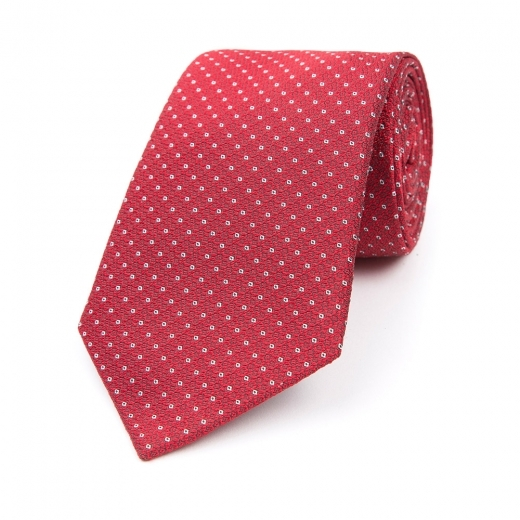 DEEP RED WITH WHITE MICRO CIRCLE SILK WOVEN TIE