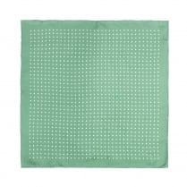 Green With White Polka Dot Printed Silk Pocket Square