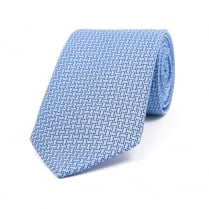 Light Blue / Navy / White Three Dot Silk Woven Tie