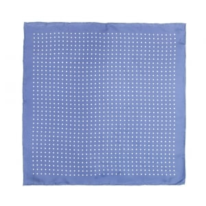 LIGHT Blue With White Polka Dot Printed Silk Pocket Square