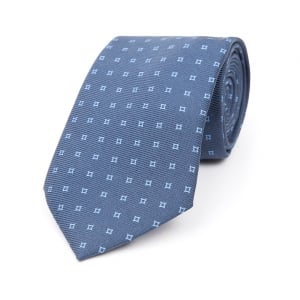 MIDNIGHT BLUE WITH LIGHT BLUE HOLLOW SQUARE MOTIF PRINTED SILK TIE