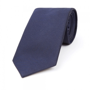 MIDNIGHT NAVY PLAIN SILK WOVEN TIE