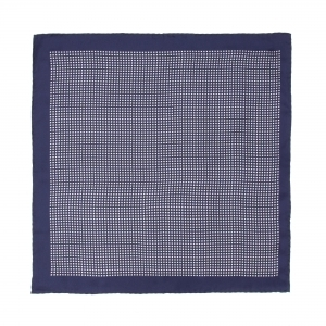 Navy With White Cross Printed MOTIF Silk Pocket Square