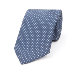 NAVY WITH WHITE DOT PRINTED SILK TIE