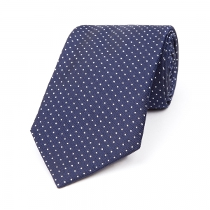 NAVY WITH WHITE MICRO SPOT SILK WOVEN TIE