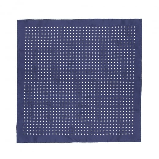 Navy With White Polka Dot Printed Silk Pocket Square