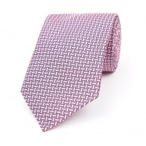 Pink / Navy / White Three Dot Silk Woven Tie