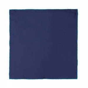 Plain Navy With Light Blue Trim Silk Pocket Square