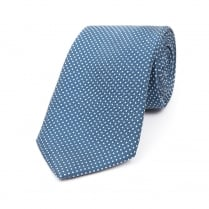 ROYAL BLUE WITH WHITE DOT PRINTED SILK TIE
