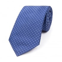 ROYAL BLUE WITH WHITE MICRO CIRCLE SILK WOVEN TIE