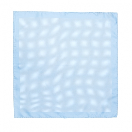 Sky Blue With White Cross Printed Motif Silk Pocket Square