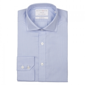 TRAVELLER Light Blue Micro Houndstooth Twill Single Cuff (Tailored Fit)