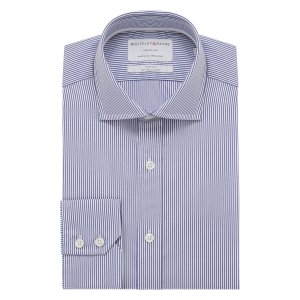 TRAVELLER Navy Stripe Poplin Single Cuff (Slim Fit)