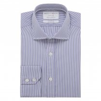 TRAVELLER Navy Stripe Poplin Single Cuff (Tailored Fit)