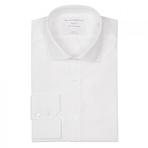 TRAVELLER White Poplin Single Cuff (Slim Fit)