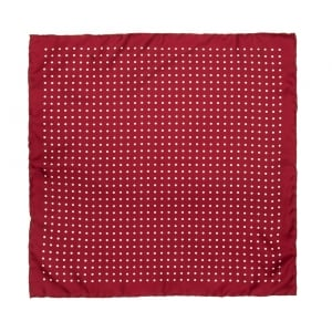 Wine With White Polka Dot Printed Silk Pocket Square